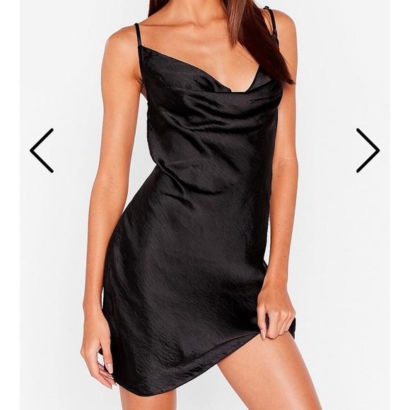 Nasty Gal Dresses & Skirts - Nasty Gal black cow neck slip dress